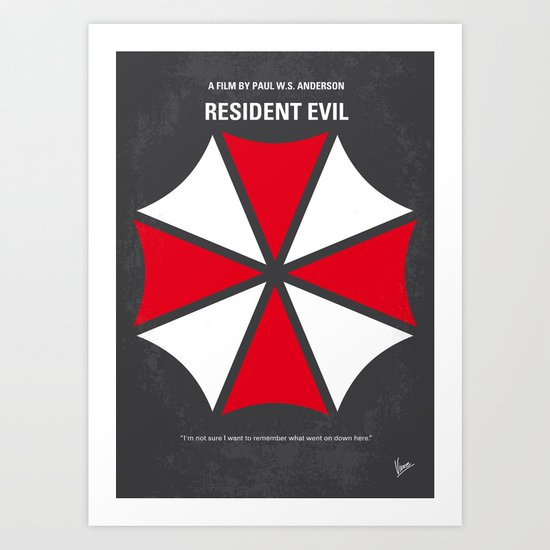 No119 My RESIDENT EVIL minimal movie poster Art Print