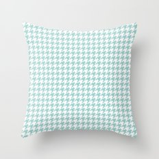 Mint Houndstooth Pattern Throw Pillow