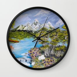 Snow on the mountains. Wall Clock