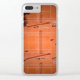 Tennis court orange Clear iPhone Case