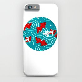 Japanese Circle 6 Koi fishes in pond iPhone Case