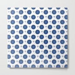 Dark Blue Floral Metal Print