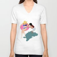 pool V-neck T-shirts featuring Pool by ministryofpixel