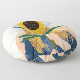 Miss Sunflower, Modern Bohemian Pastel Woman, Fashion Painting Illustration Floor Pillow