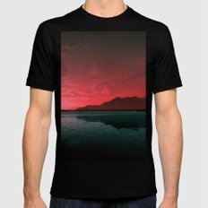 RED SKY OVER LAKE Mens Fitted Tee MEDIUM Black