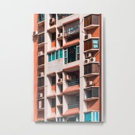 Peach Apartments Metal Print