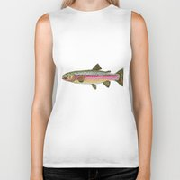 trout Biker Tanks featuring Rainbow Trout by Karissa Breuer Art