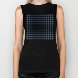Dotted Grid Boarder Blue on White Biker Tank