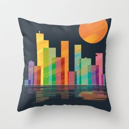 skyline nightfall Throw Pillow