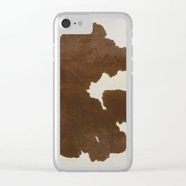 Dark Brown & White Cow Hide Clear iPhone Case