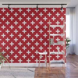 Criss Cross | Plus Sign | Red and White Wall Mural