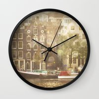 amsterdam Wall Clocks featuring Amsterdam by Cassia Beck