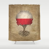 poland Shower Curtains featuring Vintage Tree of Life with Flag of Poland by Jeff Bartels
