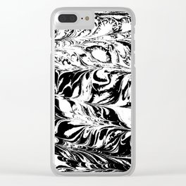 Marble black and white 2 Suminagashi watercolor pattern art pisces water wave ocean minimal design Clear iPhone Case