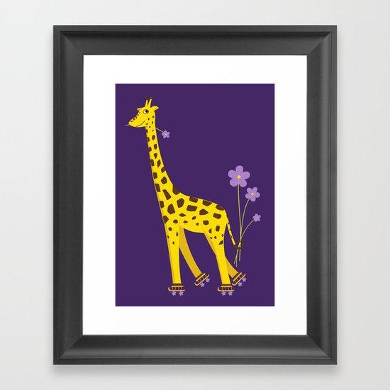 Funny Giraffe Roller Skating Framed Art Print
