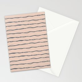 Minimalist Stripes Navy Gray on Blush Pink Stationery Cards