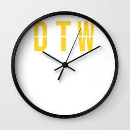 DTW - Detroit Airport  - Michigan Airport Code Souvenir or Gift or Souvenir  Wall Clock