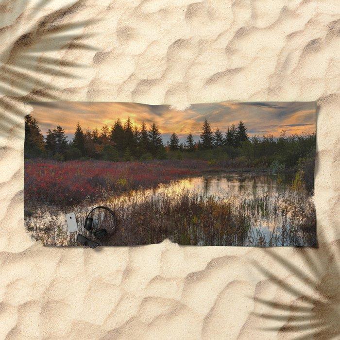 Autumn Dolly Sods Sunset Beach Towel