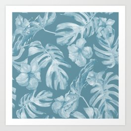 Tropical Escape Teal Blue Leaves + Hibiscus Art Print