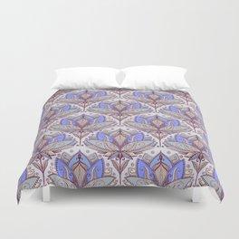 Art Deco Lotus Rising 2 - sage grey & purple pattern Duvet Cover