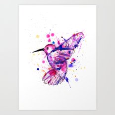 Hummingbird Splatter Art Print