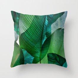 Palm leaf jungle Bali banana palm frond greens Throw Pillow