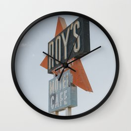 Roy's Motel Vintage Mid-Century Sign on Route66, Mojave Desert, California Wall Clock