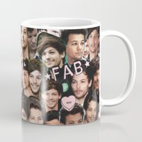 louis tomlinson Mugs featuring Louis Tomlinson - Collage by Pepe the frog