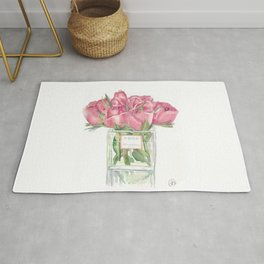 Watercolor Red Roses Vase Print Rug