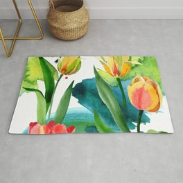 Yellow tulips. Floral botanical flower. Wild spring leaf wildflower i Rug