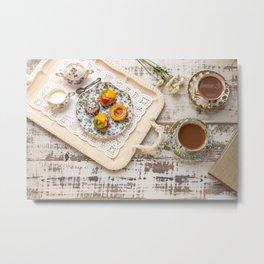 Tea cups and fruit tarts Metal Print