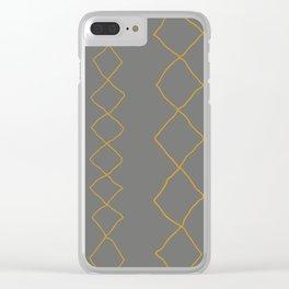 Moroccan Diamond Stripe in Grey Mustard Clear iPhone Case