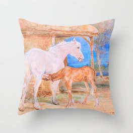 Gray Mare And A Chestnut Foal - John Frederick Lewis Throw Pillow