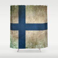 finland Shower Curtains featuring Old and Worn Distressed Vintage Flag of Finland by Jeff Bartels