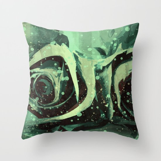 Turquoise Roses Throw Pillow