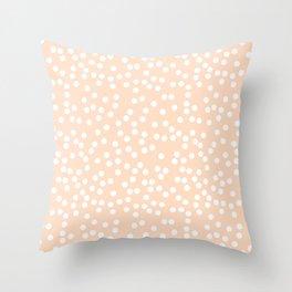 Peach / Apricot and White Polka Dot Pattern Throw Pillow
