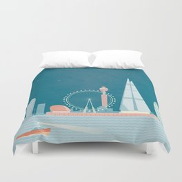 Vintage London Travel Poster Duvet Cover