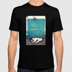 Happiness Is A Warm Cat Black Mens Fitted Tee MEDIUM