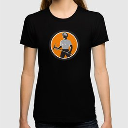 Coal Miner Holding Pick Axe Side Circle Retro T-shirt