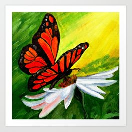 Butterfly Flower  Blooming Oil Canvas Art Art Print
