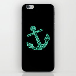 Mint Leopard Anchor iPhone Skin