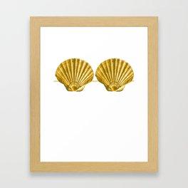 Mermaid Seashell Bra Summer Beach Funny Fake Shell Framed Art Print