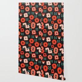 Midnight floral decor Wallpaper