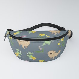 Golden Retriever and Spring Flowers Pattern Print Fanny Pack