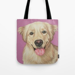 Adorable Golden Retriever Puppy Painting, Puppy Portrait, Sweet and Happy Golden Puppy Art Tote Bag