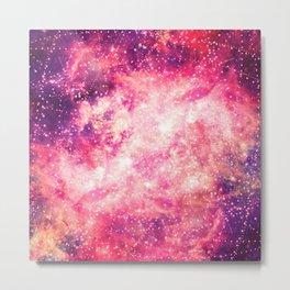 Girly Pink Purple Majestic Starry Nebula Art Metal Print