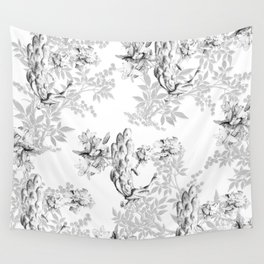 PEACOCK LILY TREE AND LEAF TOILE GRAY AND WHITE PATTERN Wall Tapestry