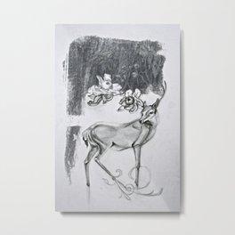 Deer Flower Metal Print
