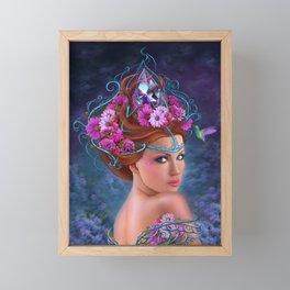 Fantasy Woman and red flowers , fashion portrait Framed Mini Art Print