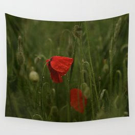 Red Poppies at Dusk Wall Tapestry